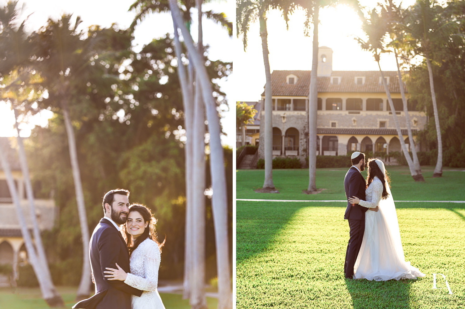 sunset portraits at Traditional Jewish Wedding at Deering Estate Miami by Domino Arts Photography