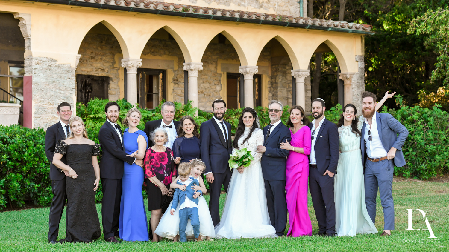 family pictures at Traditional Jewish Wedding at Deering Estate Miami by Domino Arts Photography