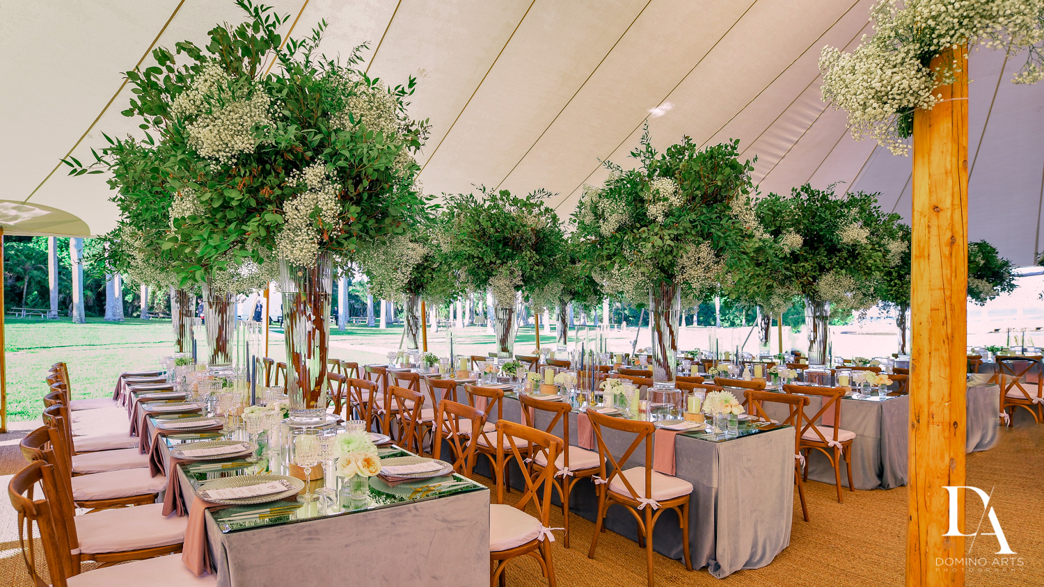 best table settings at Traditional Jewish Wedding at Deering Estate Miami by Domino Arts Photography
