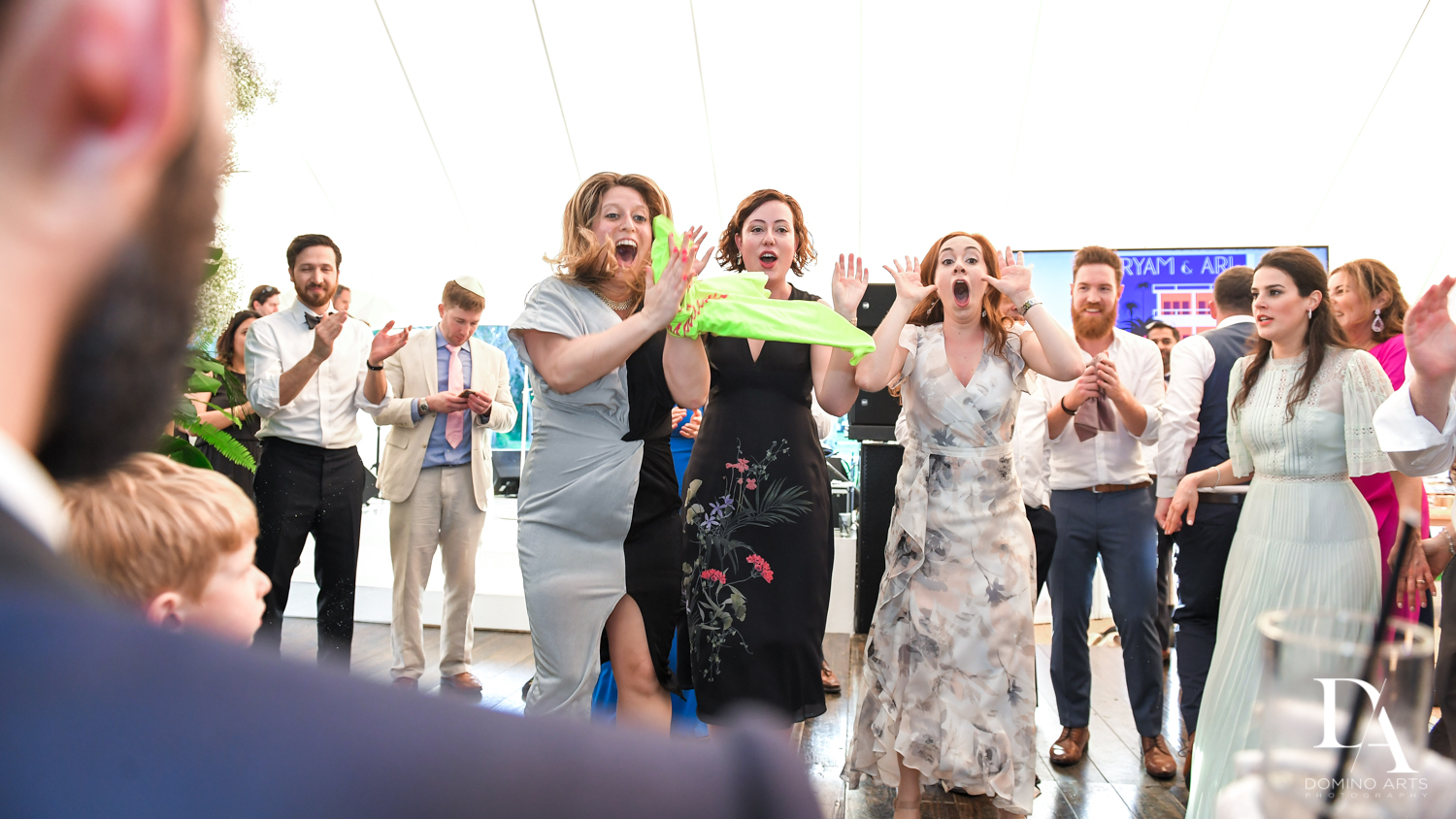 fun party at Traditional Jewish Wedding at Deering Estate Miami by Domino Arts Photography