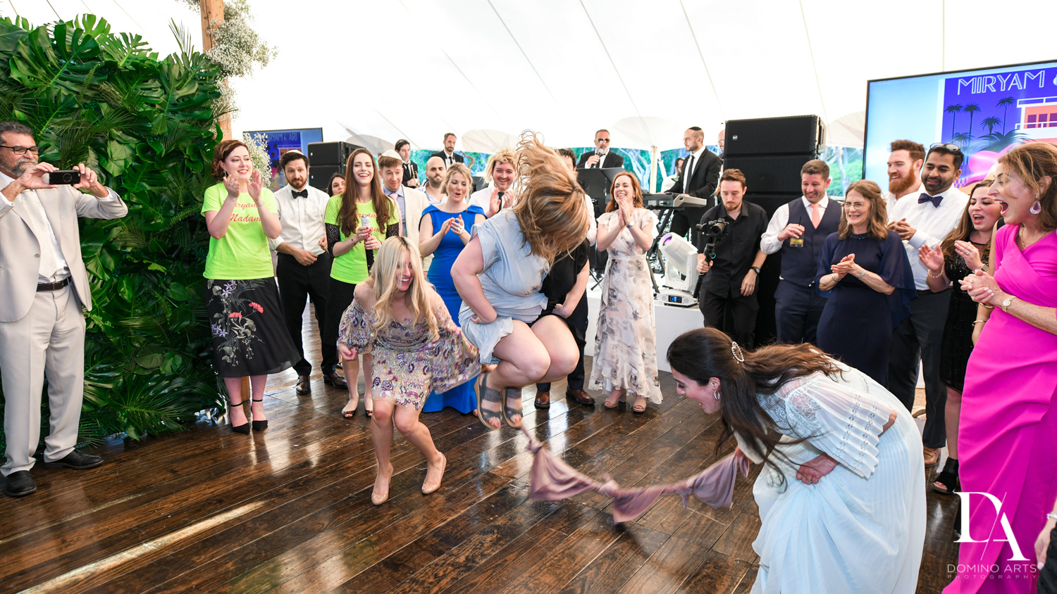 family dance at Traditional Jewish Wedding at Deering Estate Miami by Domino Arts Photography