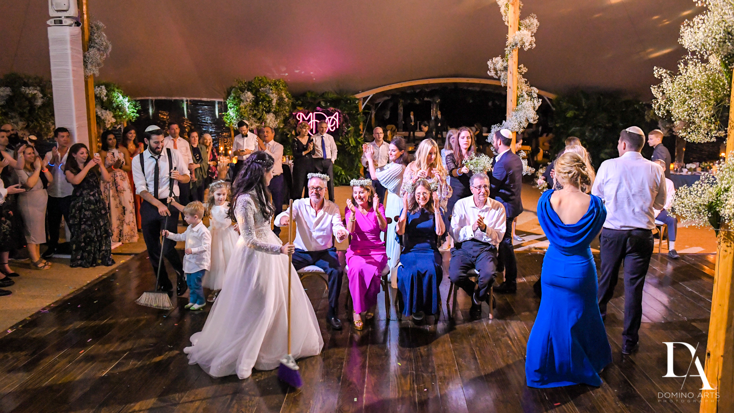reception for Traditional Jewish Wedding at Deering Estate Miami by Domino Arts Photography
