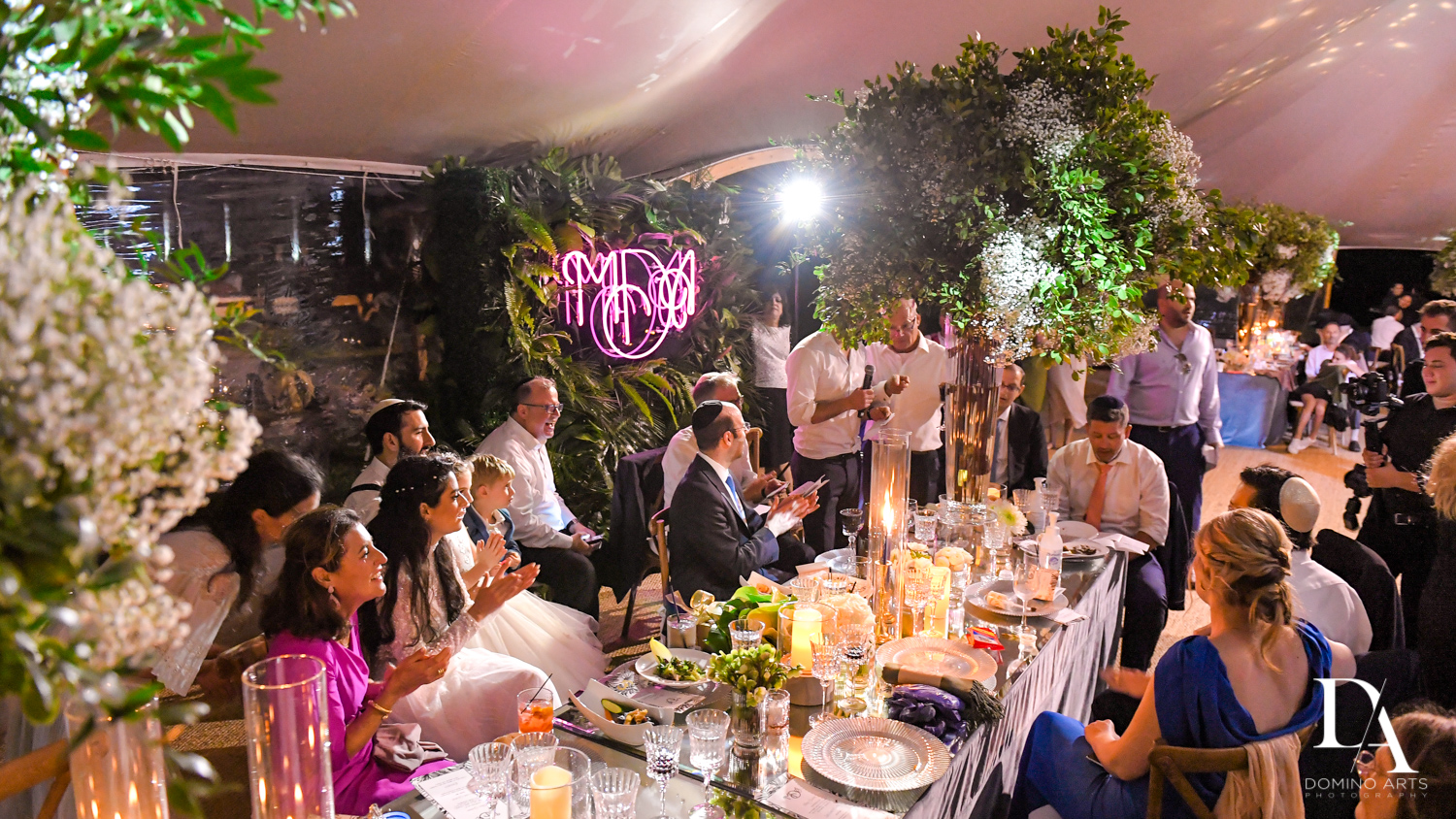 best reception decor for Traditional Jewish Wedding at Deering Estate Miami by Domino Arts Photography