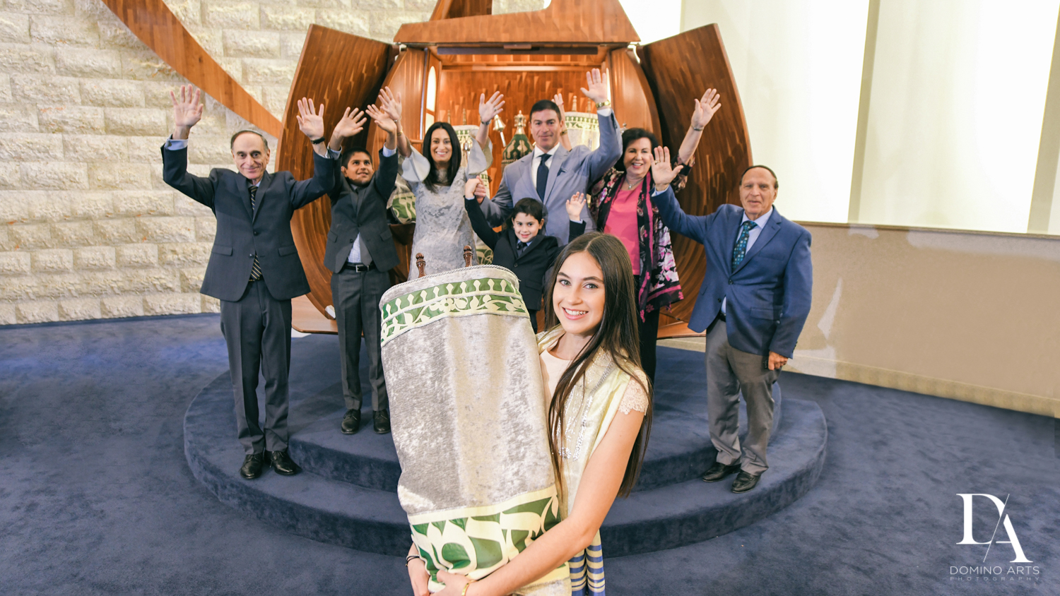 fun family photo at Traditional Jewish Bat Mitzvah at Temple Beth El by Domino Arts Photography