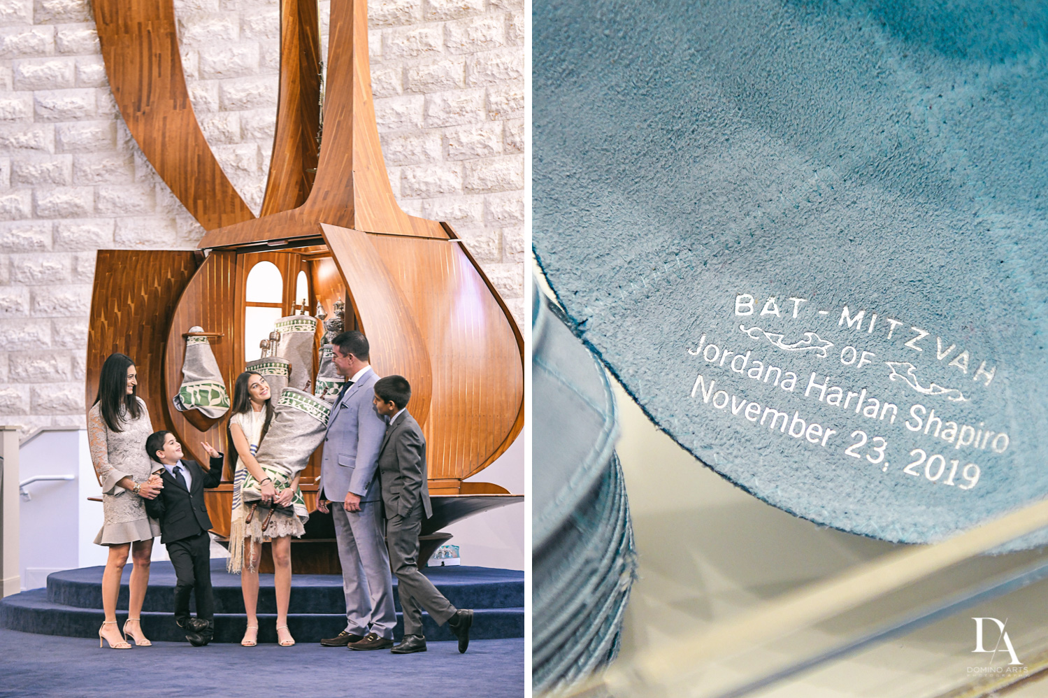 custom kippot for Traditional Jewish Bat Mitzvah at Temple Beth El by Domino Arts Photography