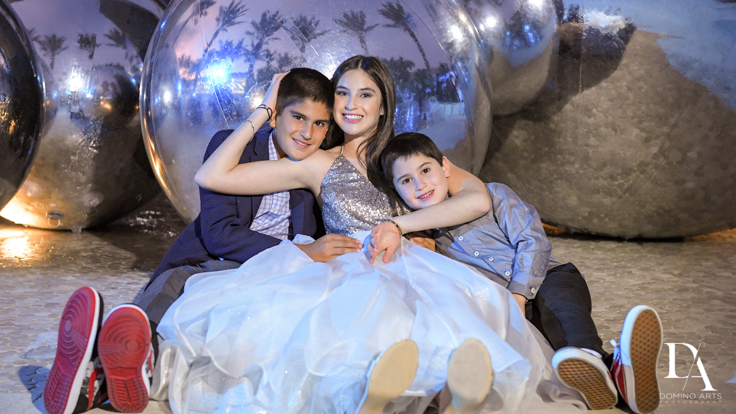 sibling portrait at Trendy Decor Bat Mitzvah at St Andrews Country Club by Domino Arts Photography
