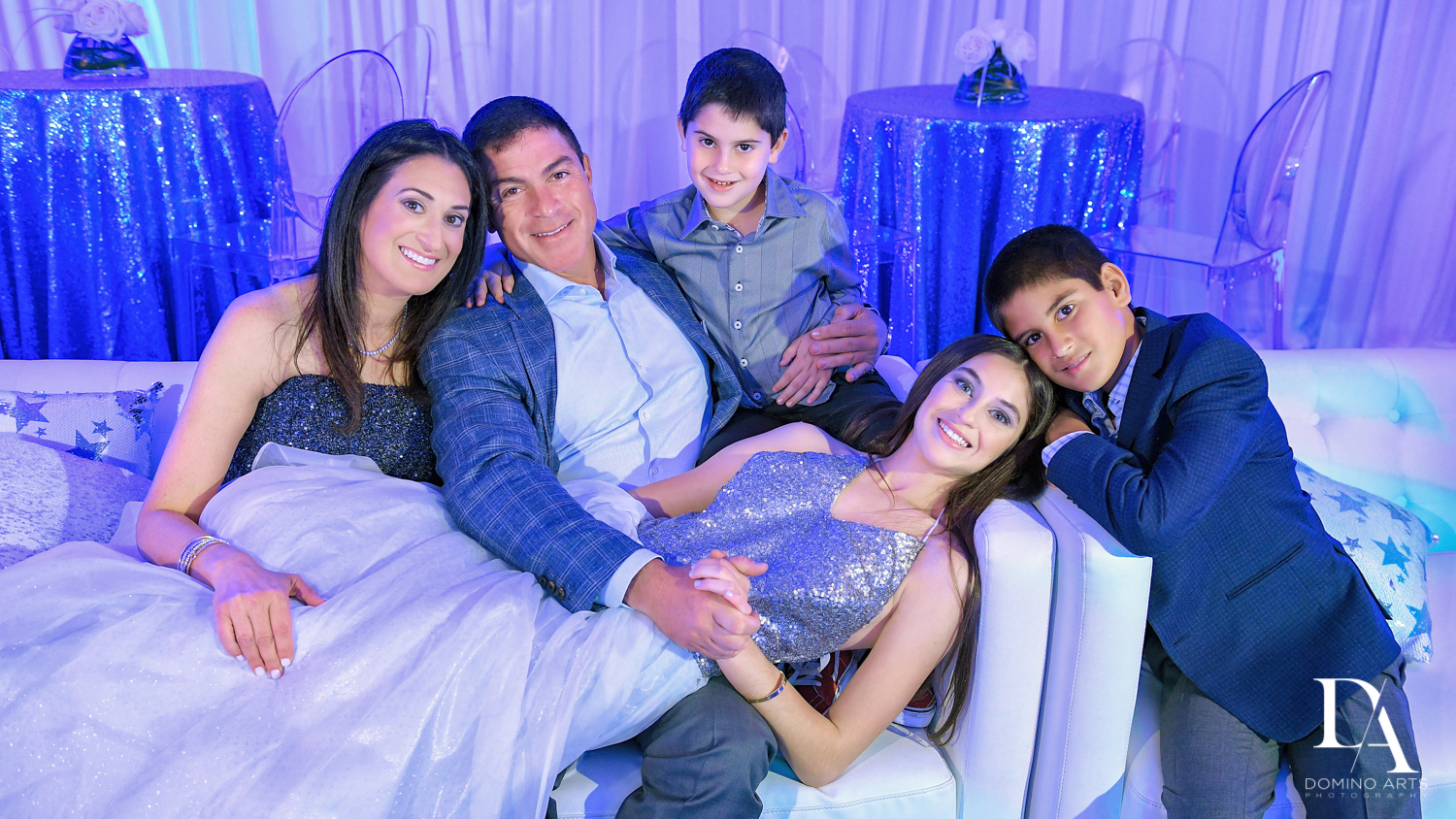 fun family portrait at Trendy Decor Bat Mitzvah at St Andrews Country Club by Domino Arts Photography