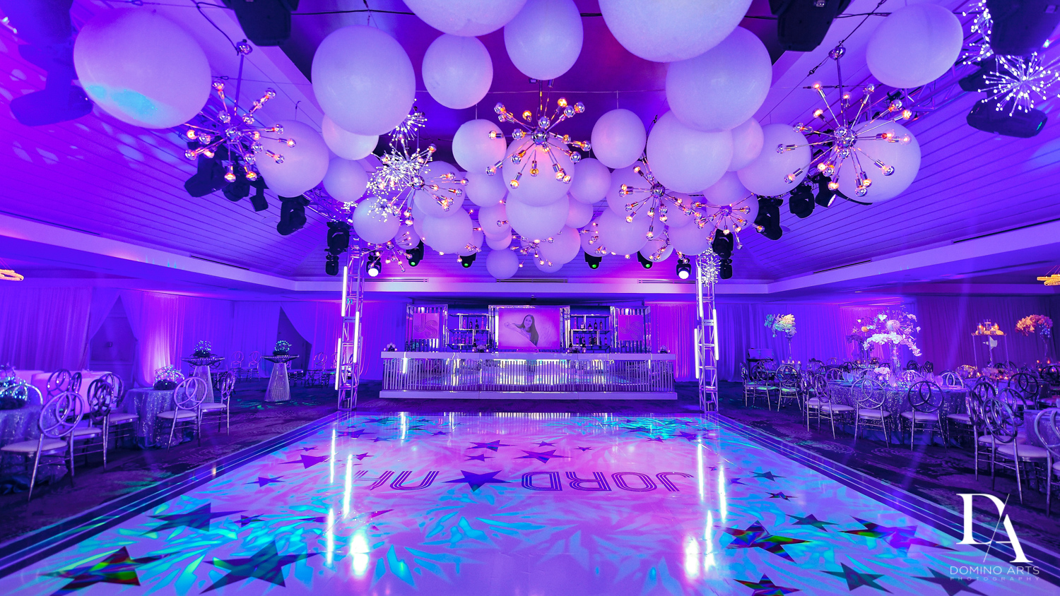 Lots of balloons at Trendy Decor Bat Mitzvah at St Andrews Country Club by Domino Arts Photography