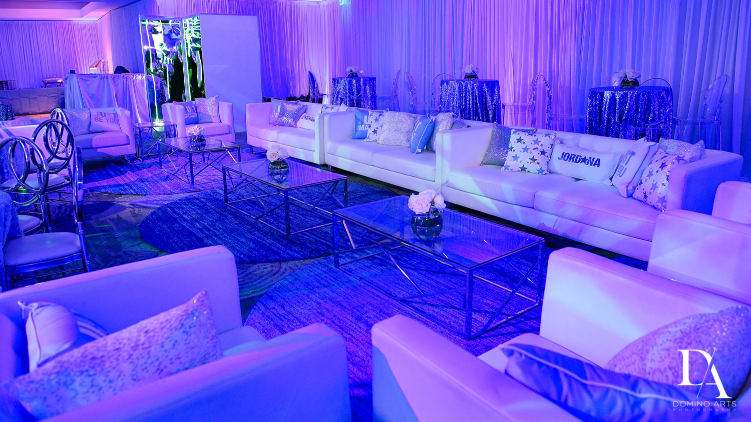 Purple and blue at Trendy Decor Bat Mitzvah at St Andrews Country Club by Domino Arts Photography