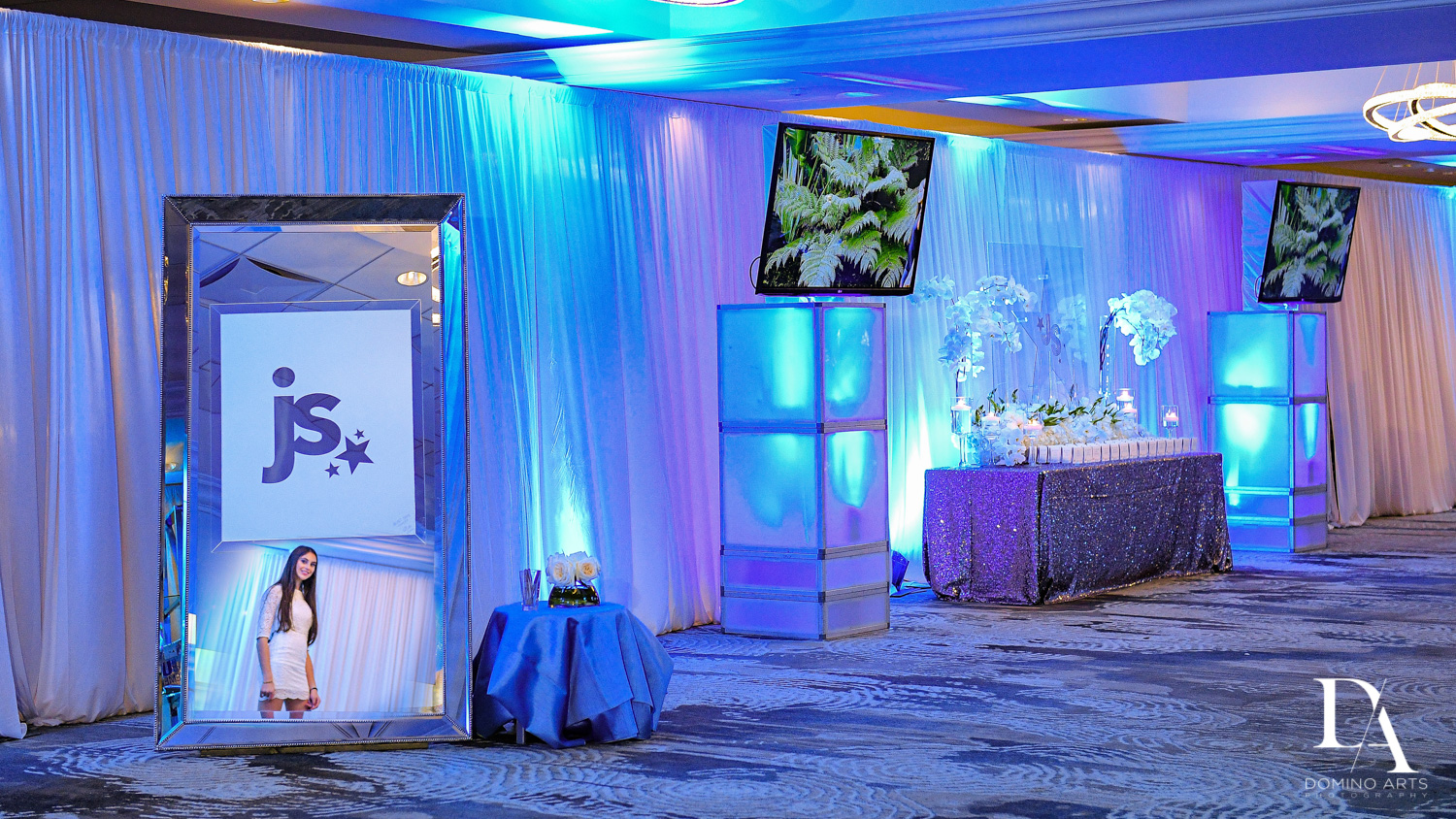 purple and blue details at Trendy Decor Bat Mitzvah at St Andrews Country Club by Domino Arts Photography