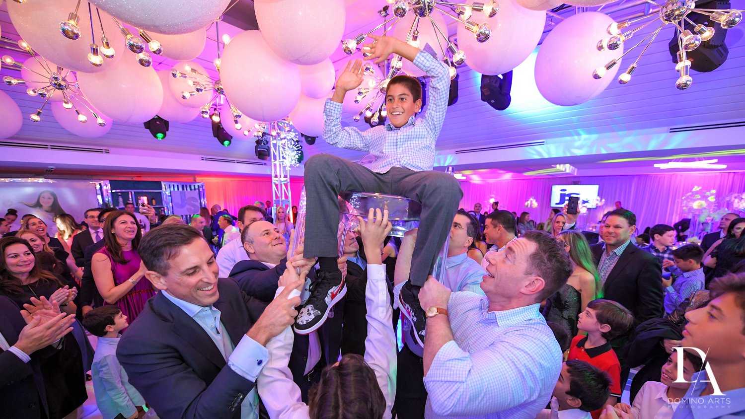 hora at Trendy Decor Bat Mitzvah at St Andrews Country Club by Domino Arts Photography