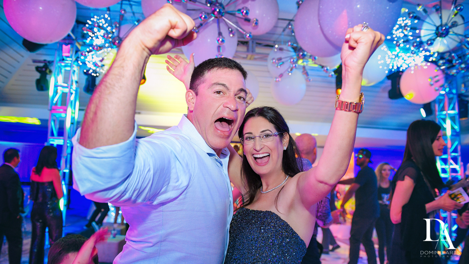 celebrating at Trendy Decor Bat Mitzvah at St Andrews Country Club by Domino Arts Photography