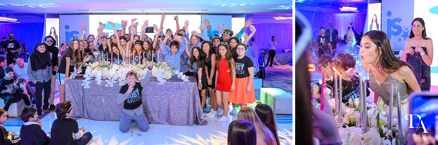 friends at candleighting at Trendy Decor Bat Mitzvah at St Andrews Country Club by Domino Arts Photography