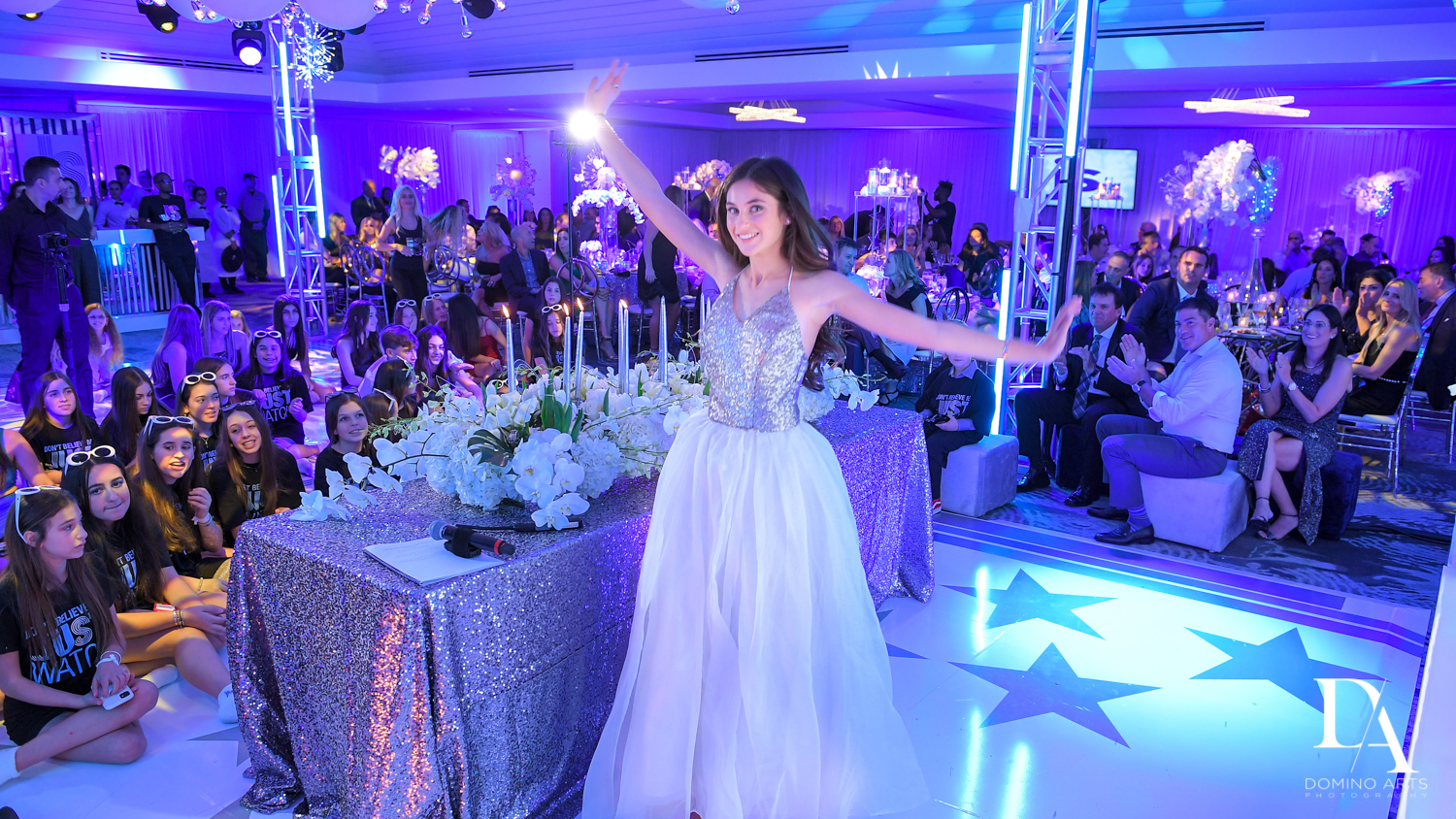 candle lighting ceremony at Trendy Decor Bat Mitzvah at St Andrews Country Club by Domino Arts Photography