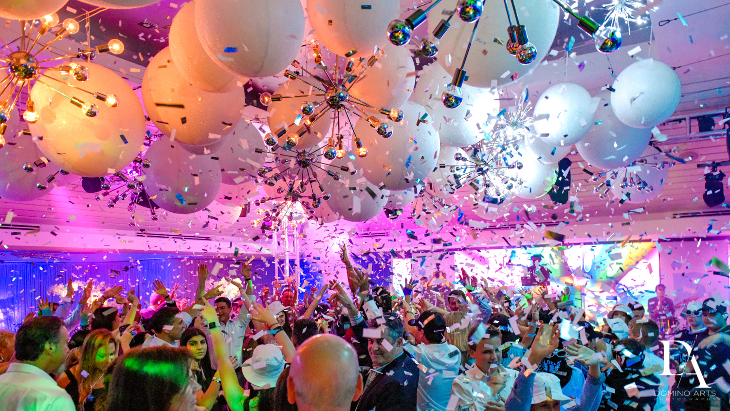 confetti at Trendy Decor Bat Mitzvah at St Andrews Country Club by Domino Arts Photography