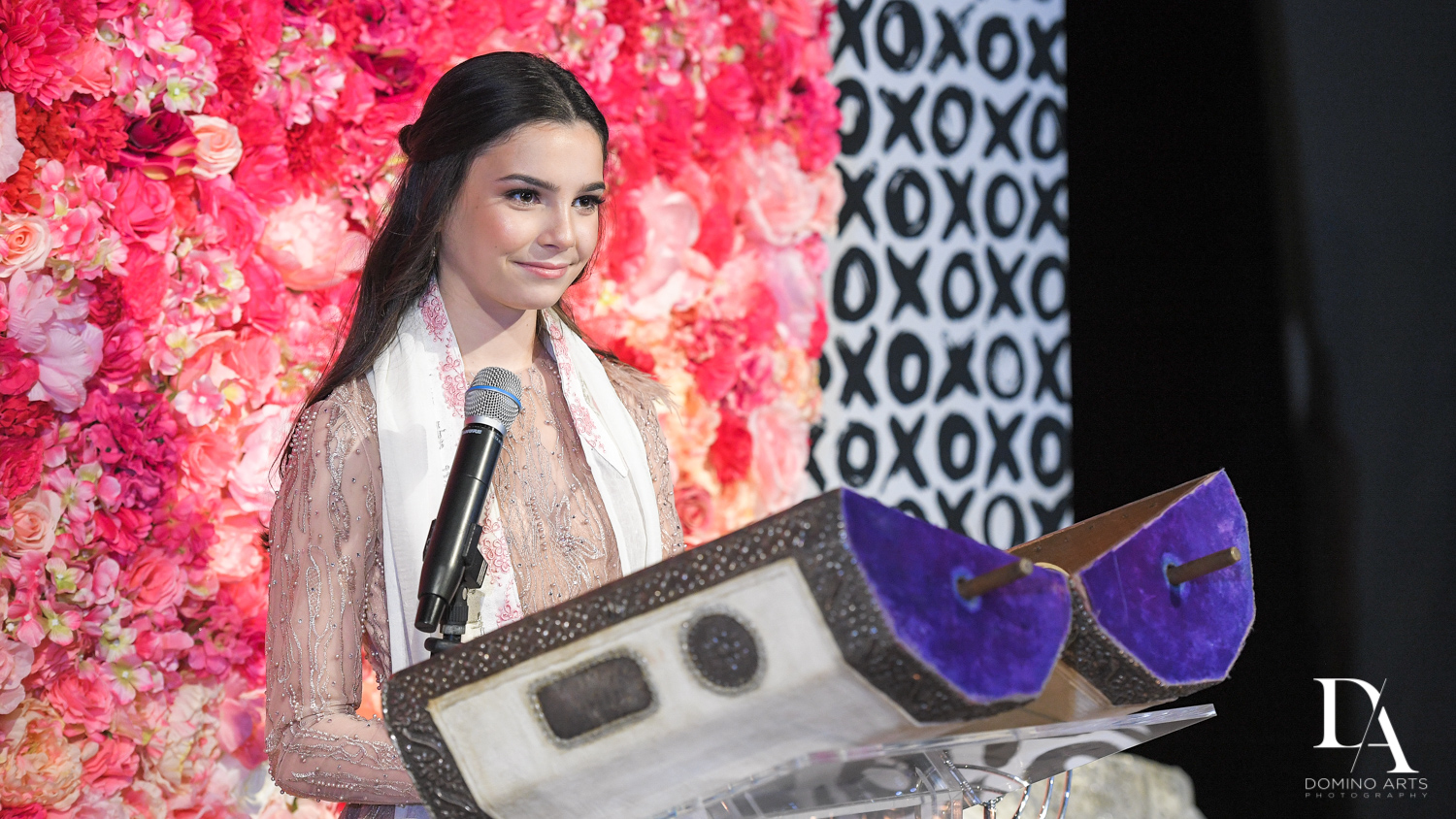 reading torah at Fashion Theme Bat Mitzvah at Gallery of Amazing Things by Domino Arts Photography