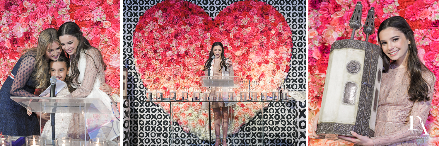 flower heart at Fashion Theme Bat Mitzvah at Gallery of Amazing Things by Domino Arts Photography