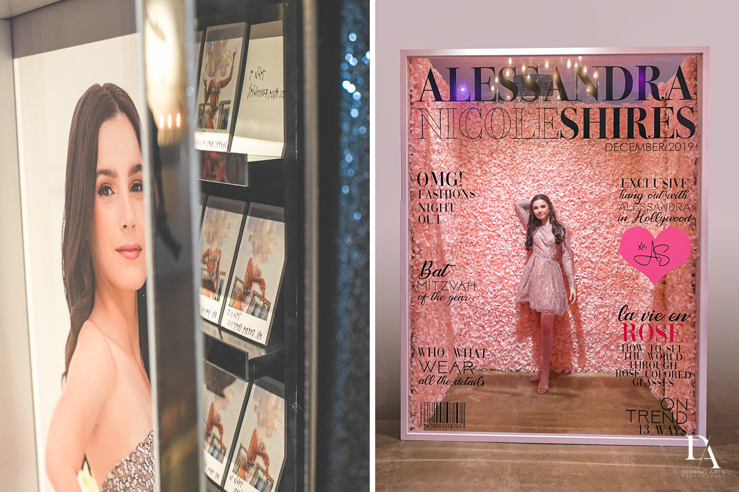 Vogue cover photo backdrop at Fashion Theme Bat Mitzvah at Gallery of Amazing Things by Domino Arts Photography