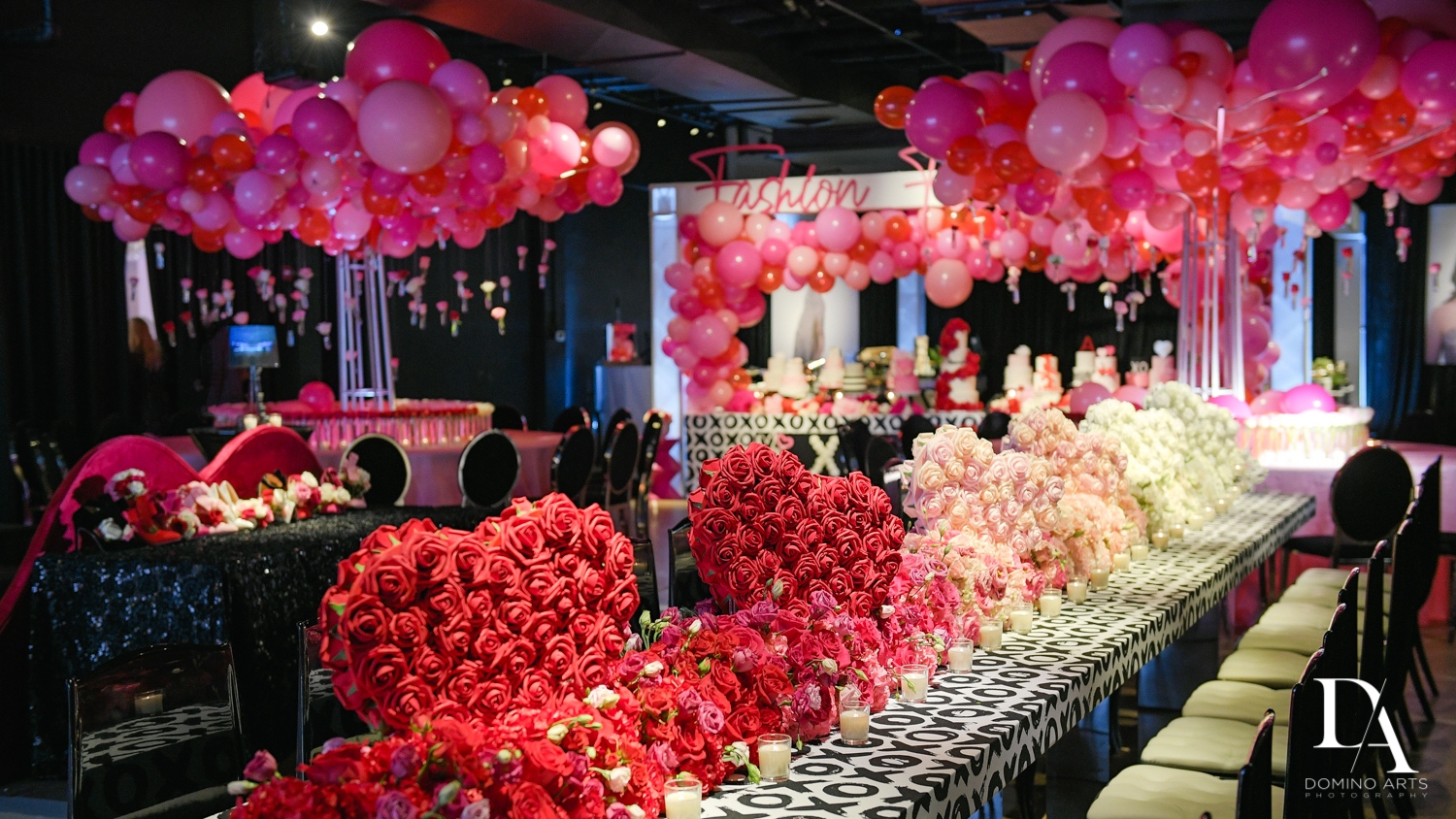 huge flower decor at Fashion Theme Bat Mitzvah at Gallery of Amazing Things by Domino Arts Photography