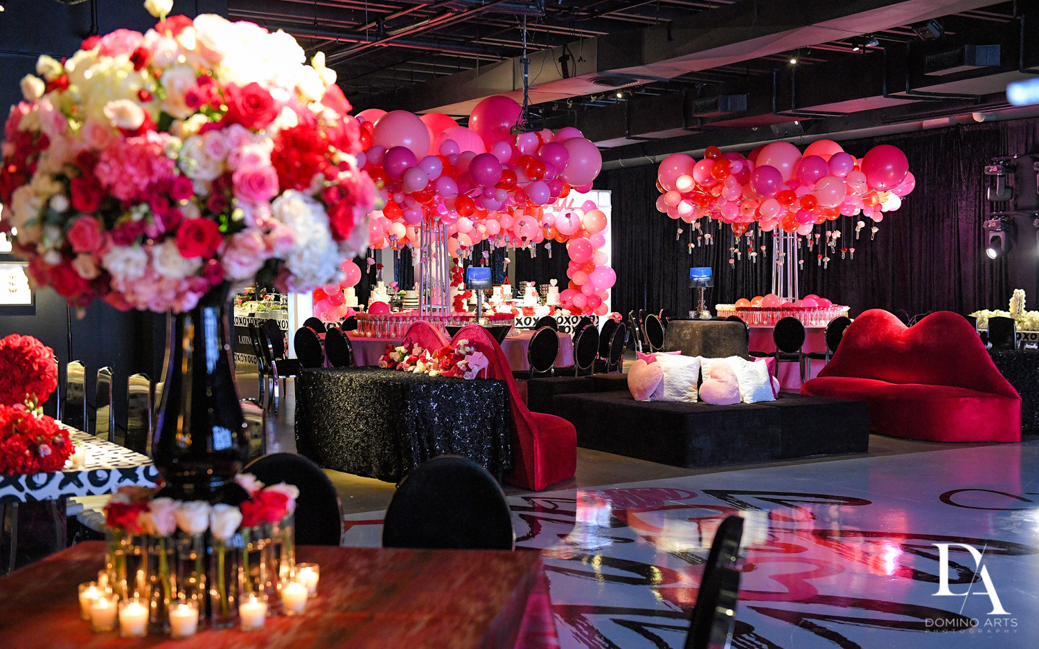 flower and balloon decor at Fashion Theme Bat Mitzvah at Gallery of Amazing Things by Domino Arts Photography