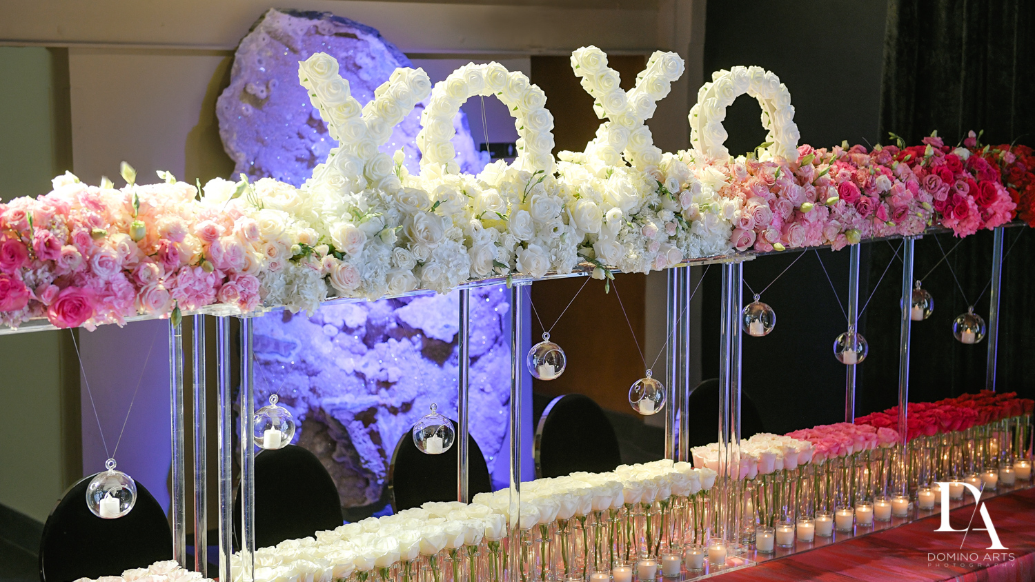 white rose decor at Fashion Theme Bat Mitzvah at Gallery of Amazing Things by Domino Arts Photography