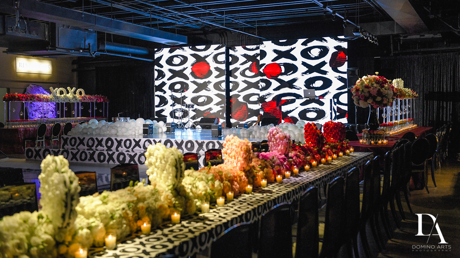amazing rose decor at Fashion Theme Bat Mitzvah at Gallery of Amazing Things by Domino Arts Photography