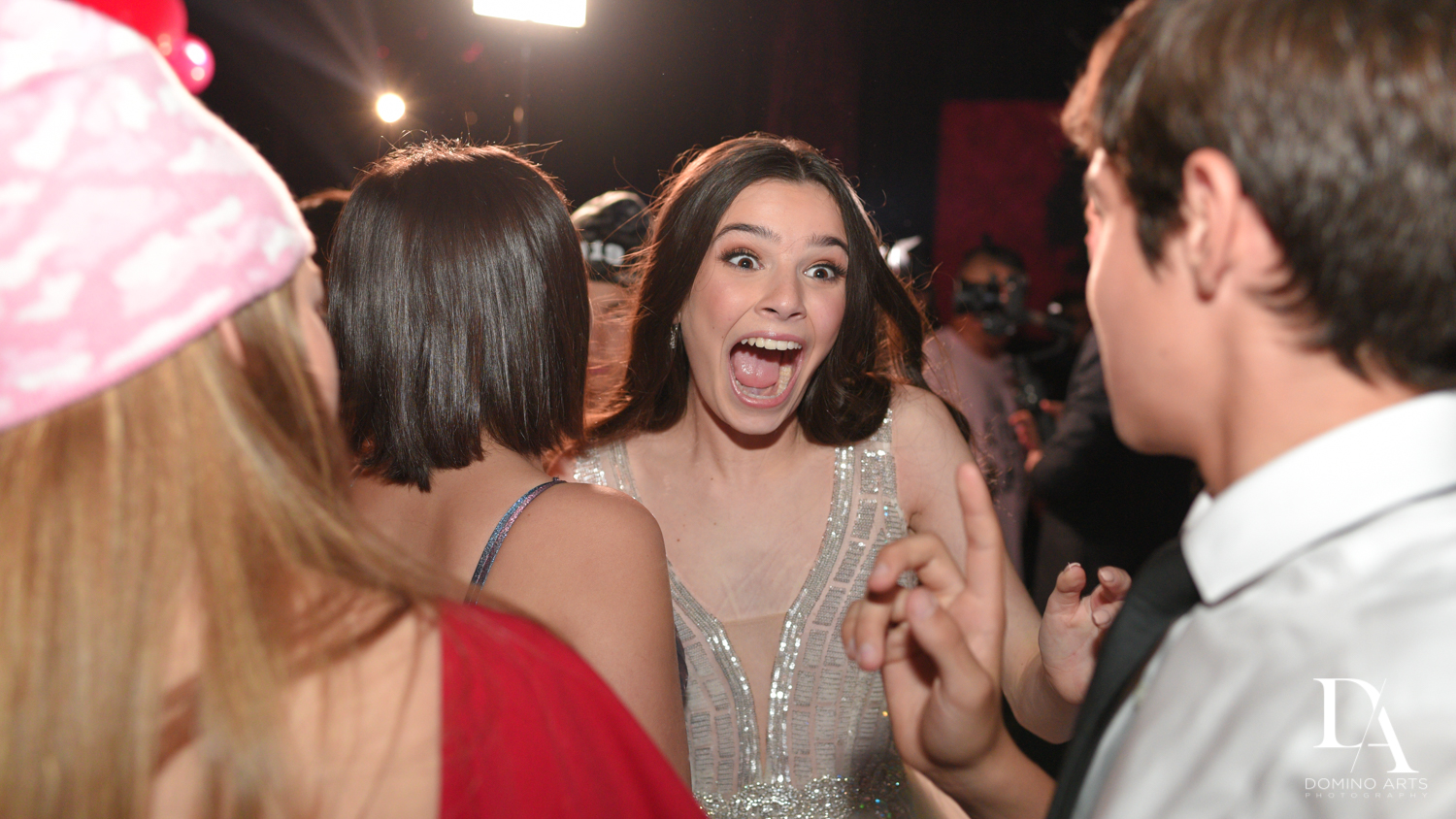 happy girl at Fashion Theme Bat Mitzvah at Gallery of Amazing Things by Domino Arts Photography