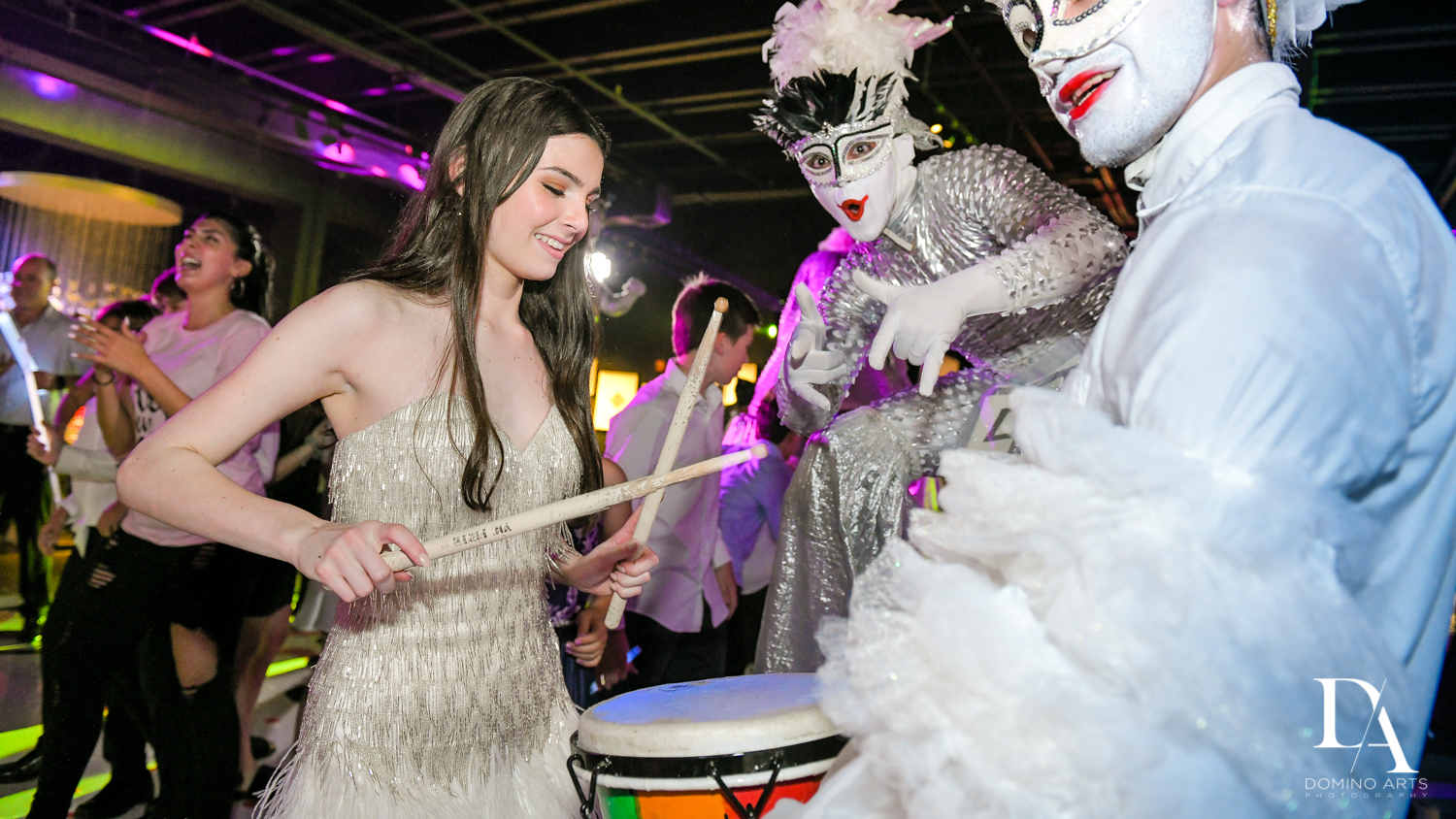 drummers at Fashion Theme Bat Mitzvah at Gallery of Amazing Things by Domino Arts Photography