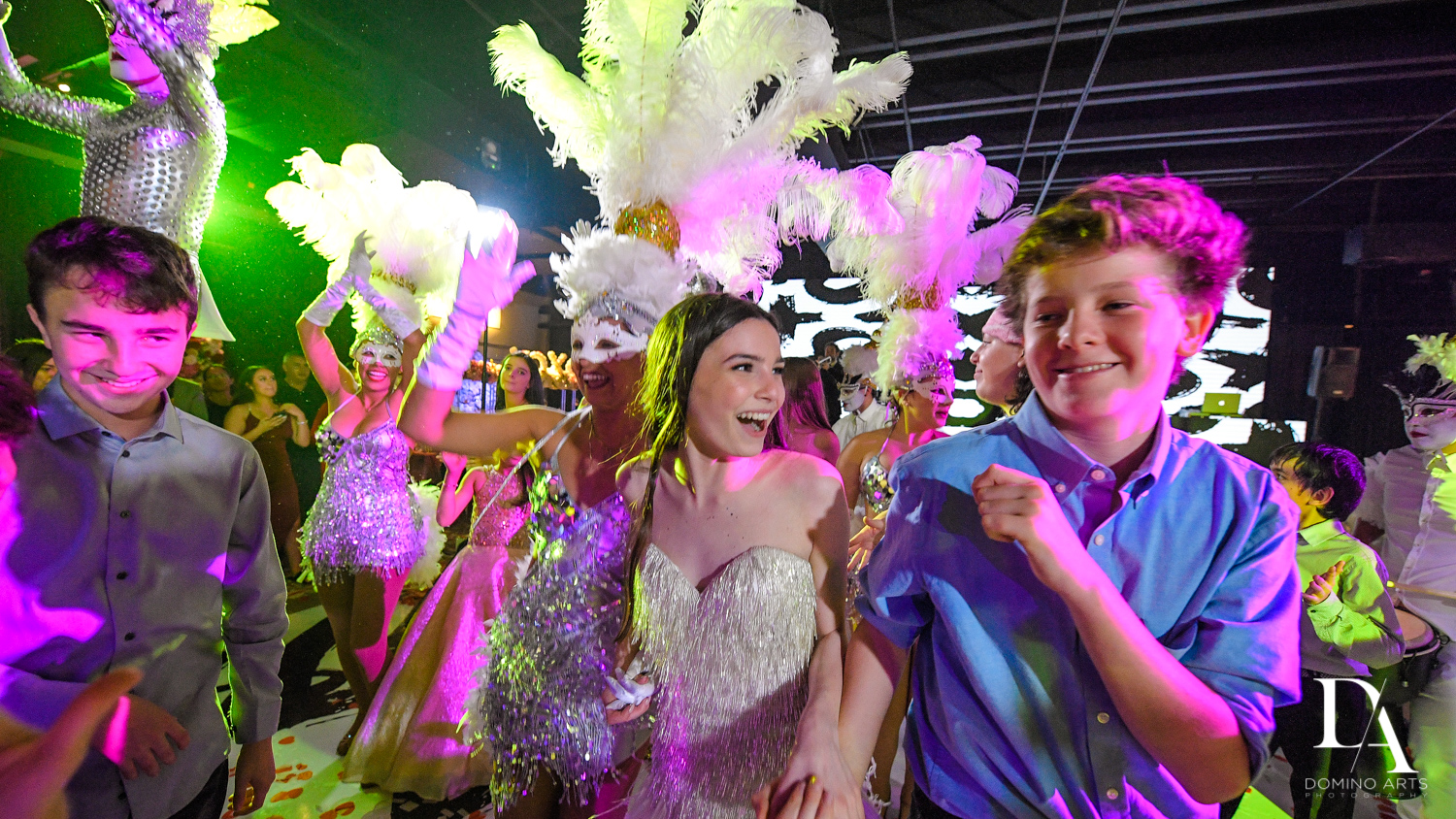 feathered performers at Fashion Theme Bat Mitzvah at Gallery of Amazing Things by Domino Arts Photography