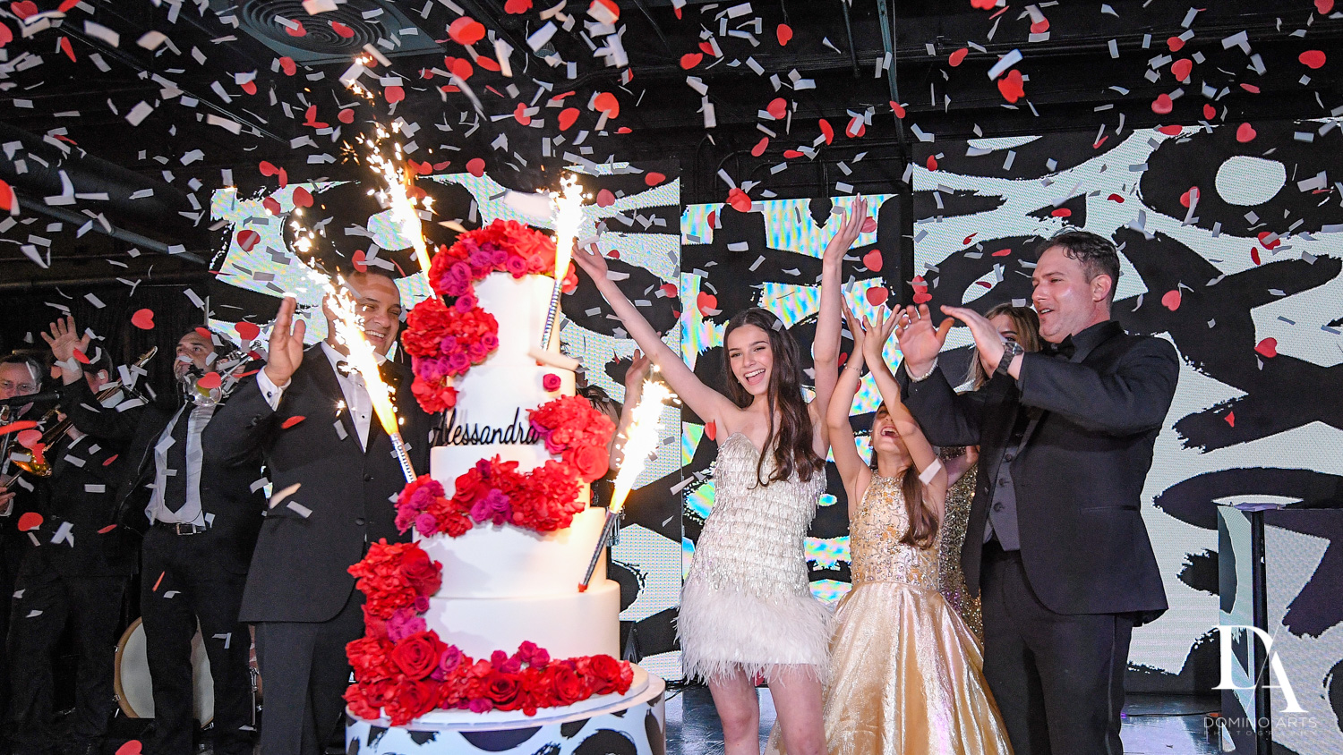 big amazing cake at Fashion Theme Bat Mitzvah at Gallery of Amazing Things by Domino Arts Photography