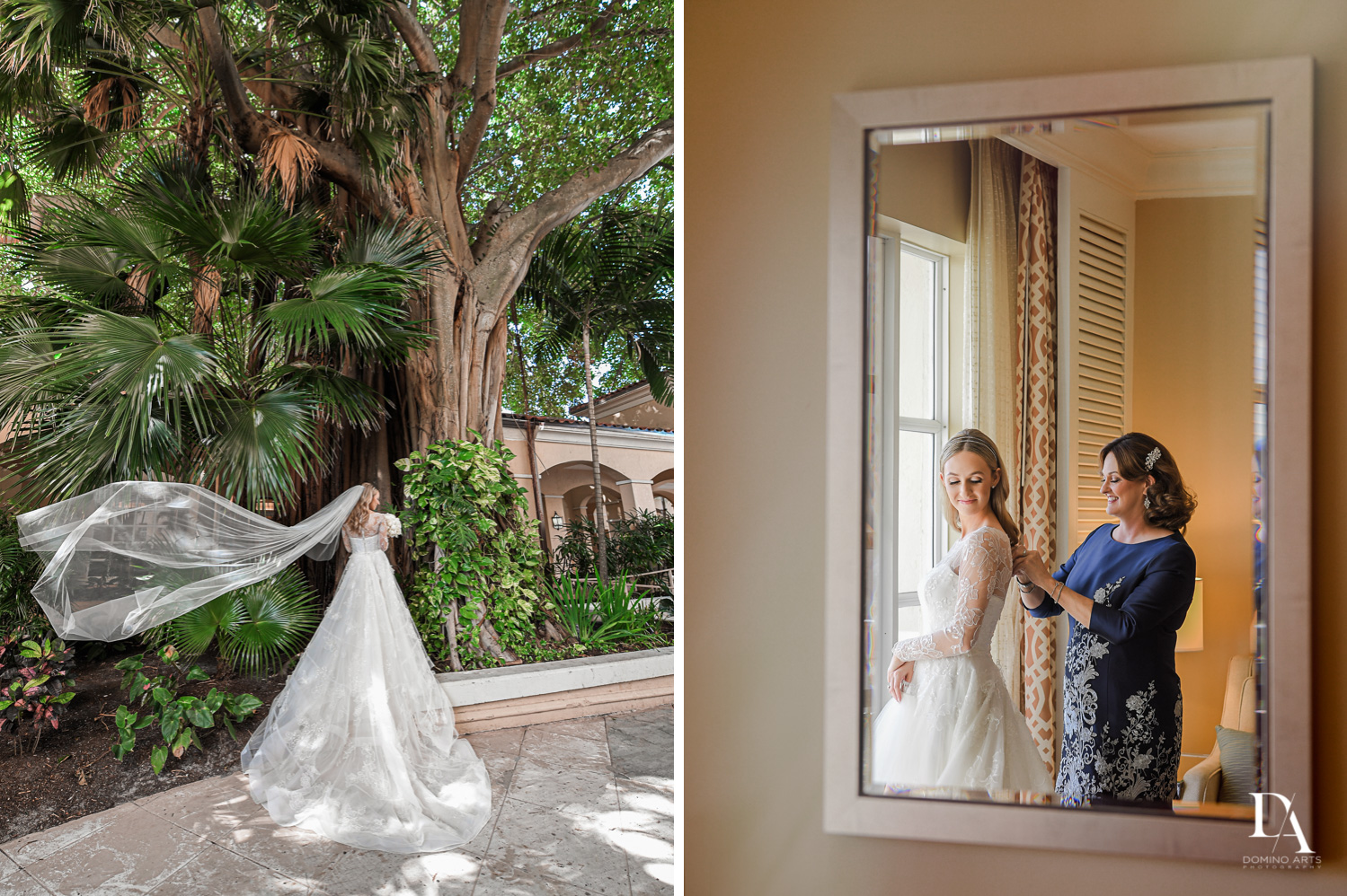 bridal portraits at Lavish Flowers & Crystals Wedding at Aventura Turnberry Jewish Center by Domino Arts Photography
