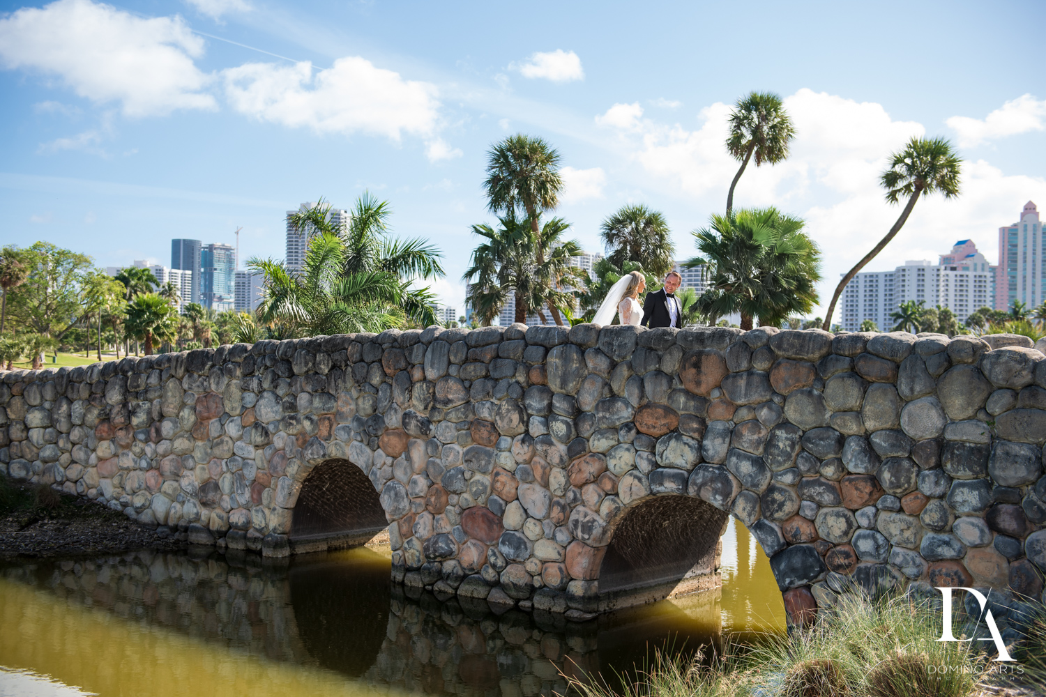 golf course bridge at aventura turnberry wedding by domino arts