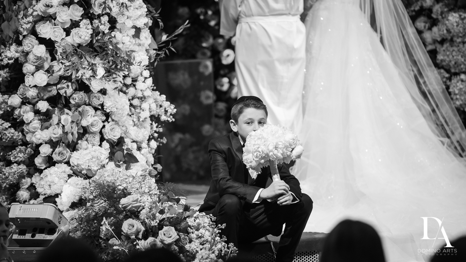 B&W pictures at Lavish Flowers & Crystals Wedding at Aventura Turnberry Jewish Center by Domino Arts Photography