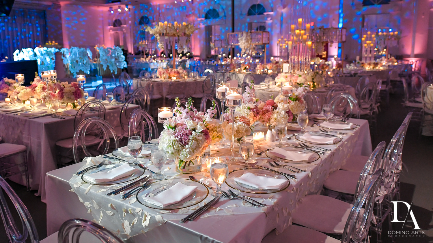 best wedding decor at Lavish Flowers & Crystals Wedding at Aventura Turnberry Jewish Center by Domino Arts Photography
