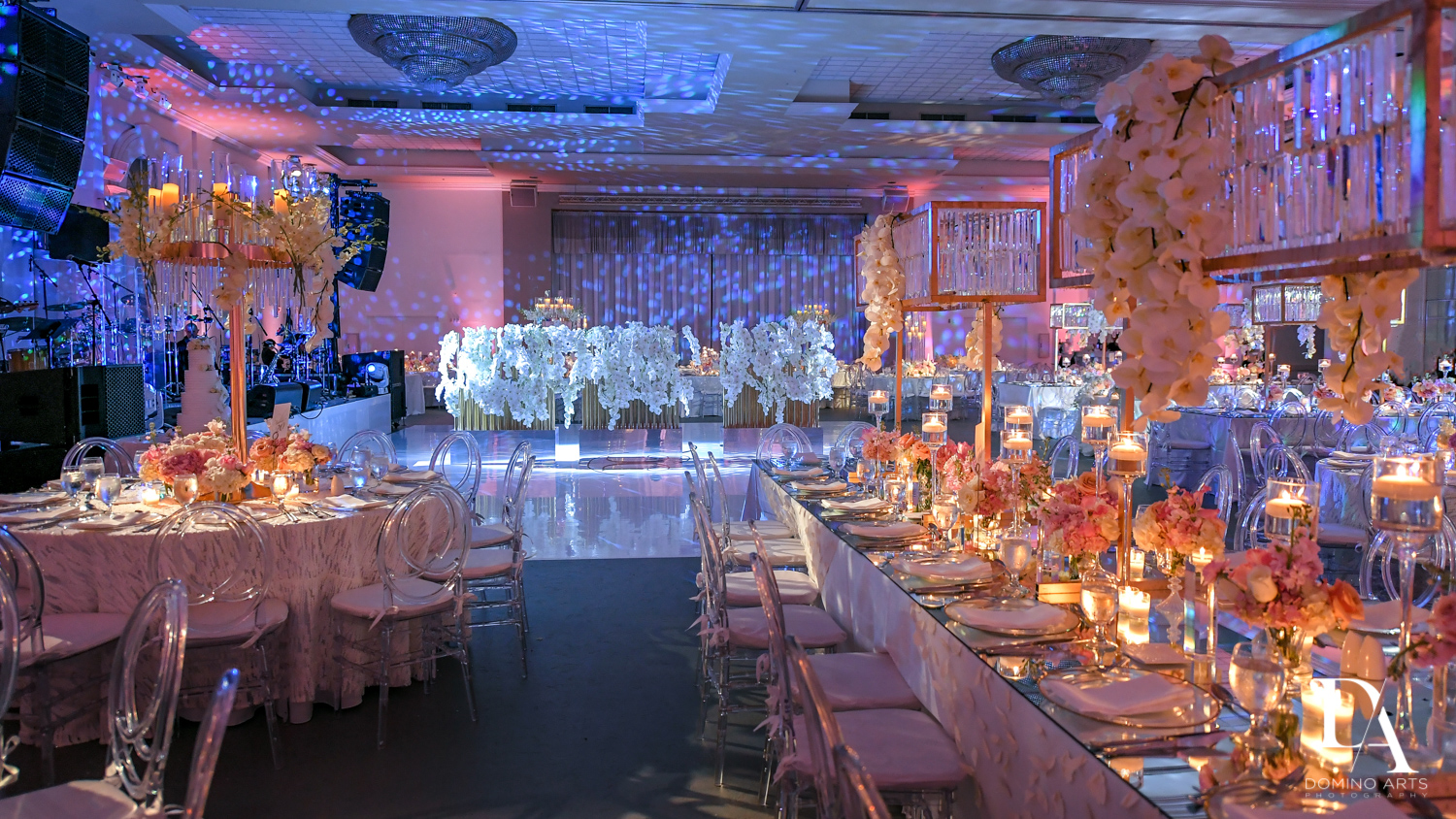 Petal Productions at Lavish Flowers & Crystals Wedding at Aventura Turnberry Jewish Center by Domino Arts Photography