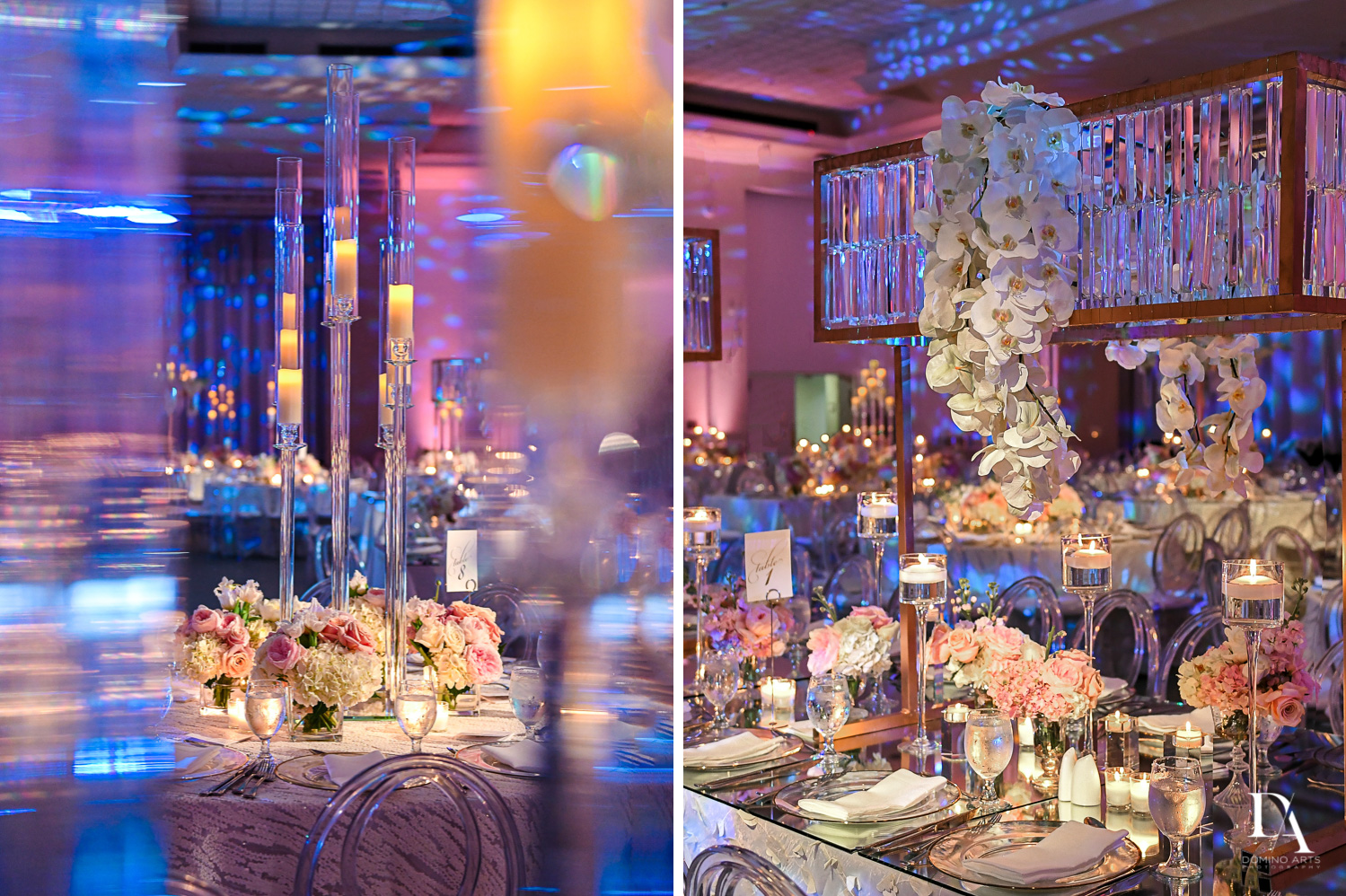 luxury at Lavish Flowers & Crystals Wedding at Aventura Turnberry Jewish Center by Domino Arts Photography