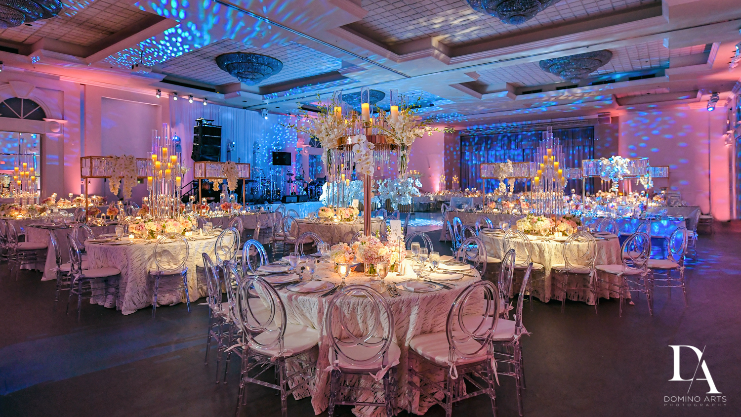 Petal Productions best decor at Lavish Flowers & Crystals Wedding at Aventura Turnberry Jewish Center by Domino Arts Photography