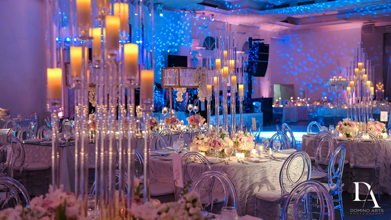 candelabra at Lavish Flowers & Crystals Wedding at Aventura Turnberry Jewish Center by Domino Arts Photography