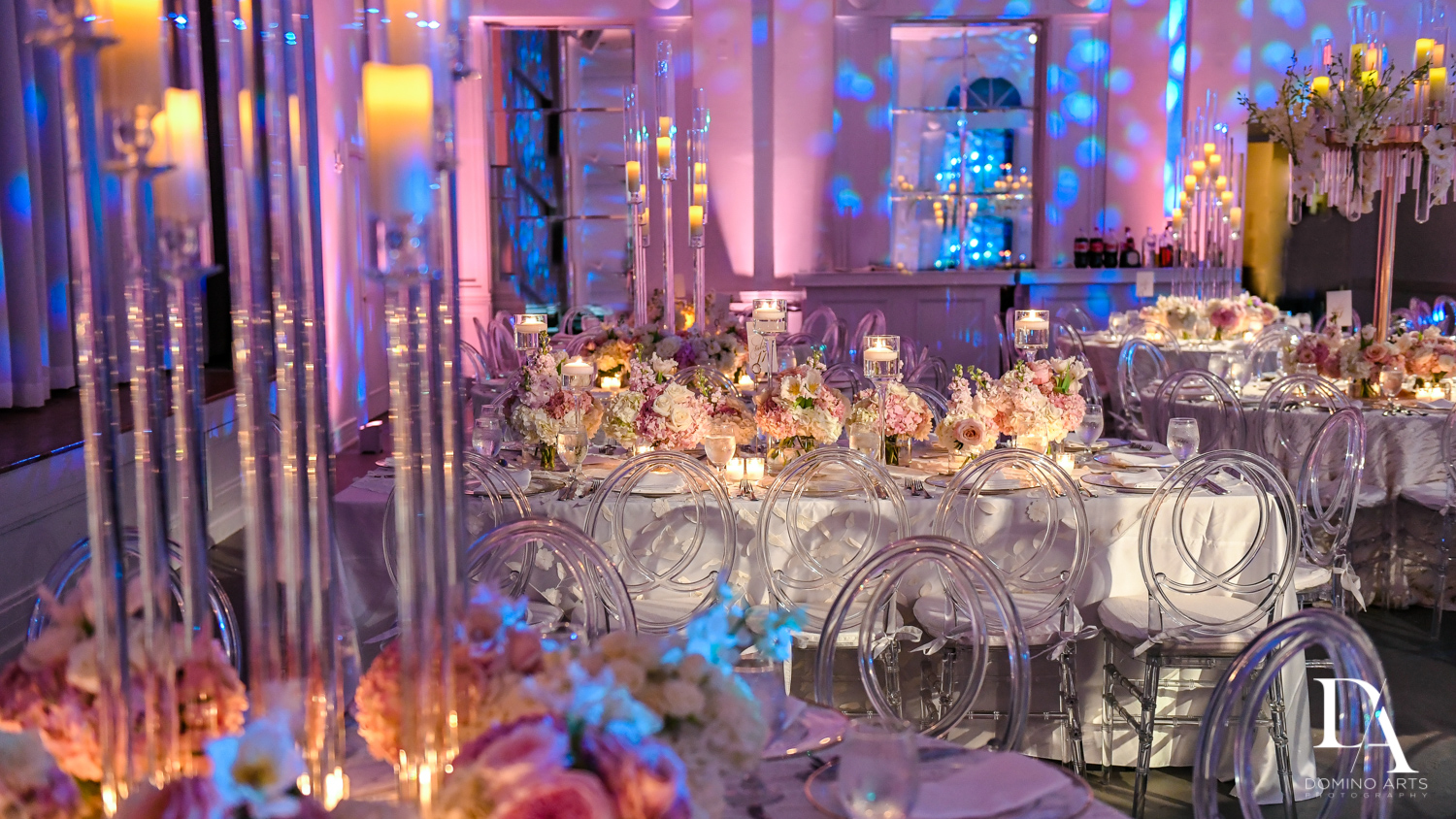 purple and pink at Lavish Flowers & Crystals Wedding at Aventura Turnberry Jewish Center by Domino Arts Photography
