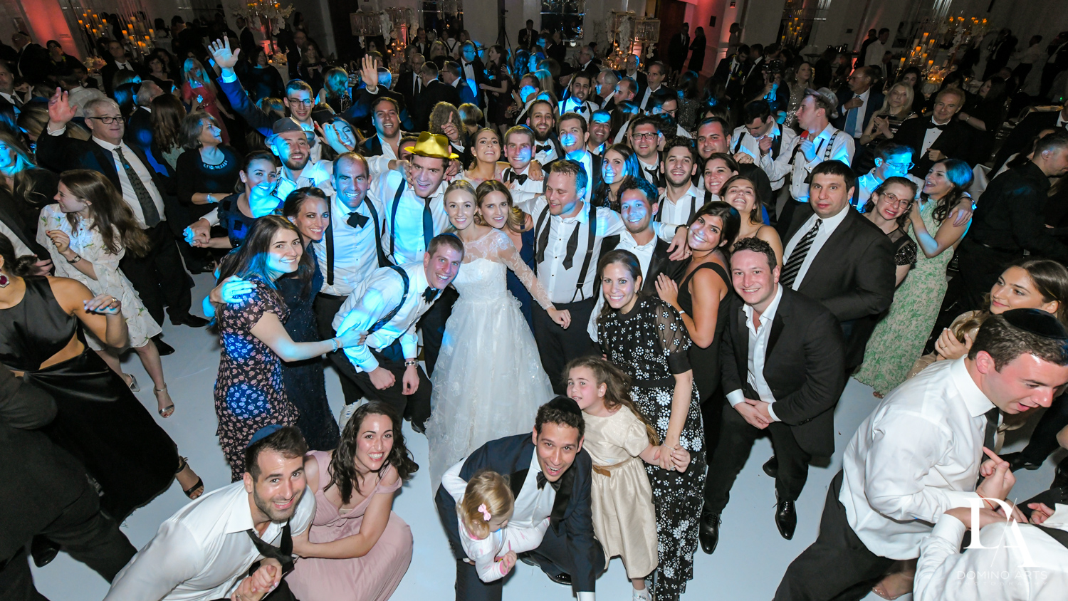 Wedding crowd shot at Lavish Flowers & Crystals Wedding at Aventura Turnberry Jewish Center by Domino Arts Photography