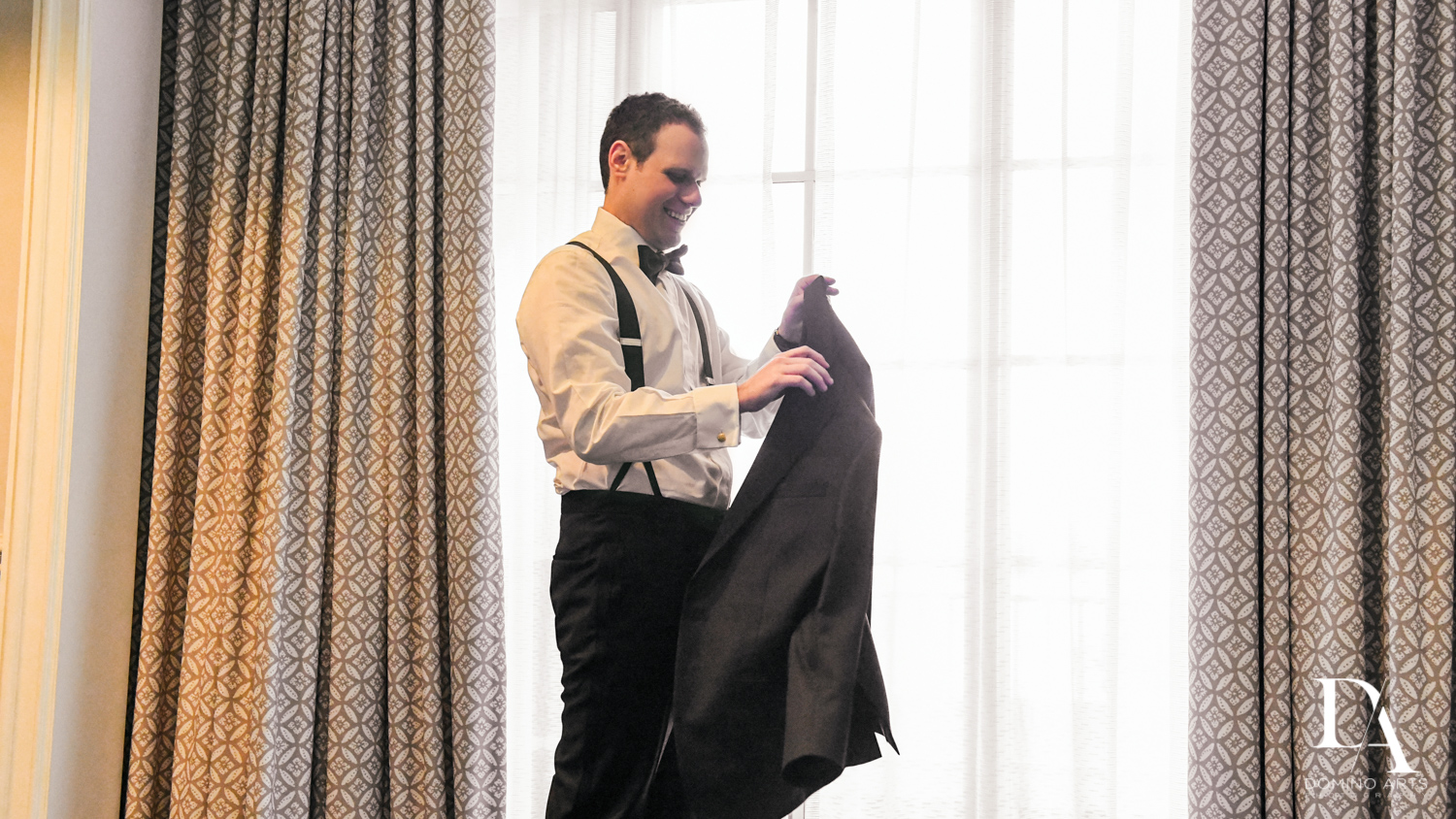 groom getting ready at A Ritz Carlton Wedding in Key Biscayne by Domino Arts Photography