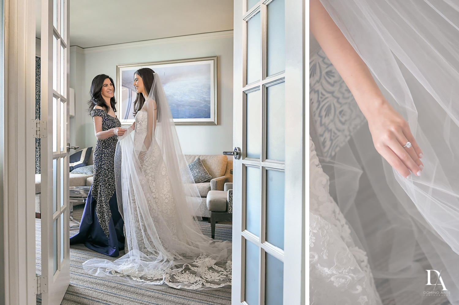 bride and mom at A Ritz Carlton Wedding in Key Biscayne by Domino Arts Photography