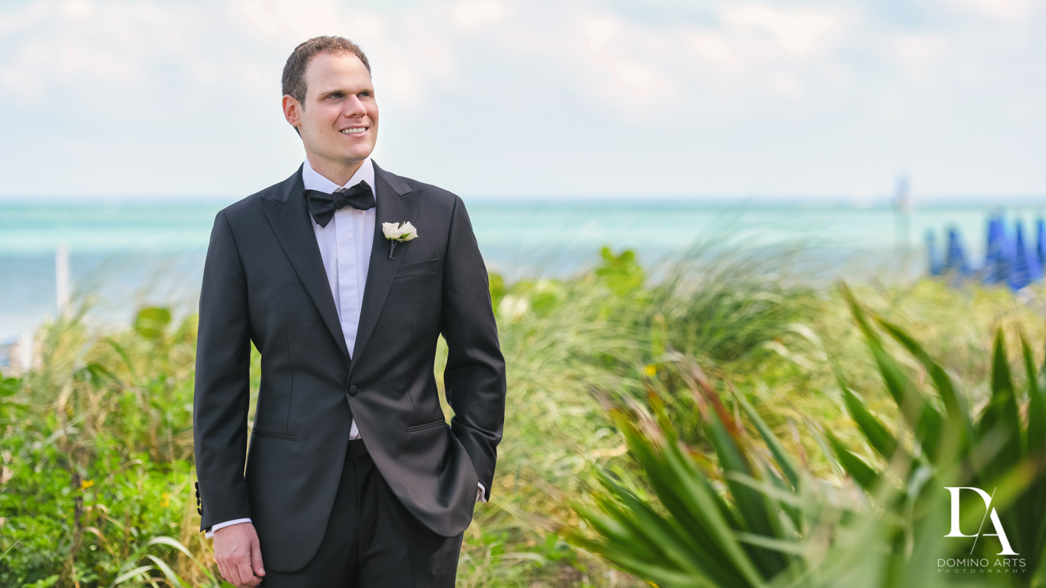 groom portrait at A Ritz Carlton Wedding in Key Biscayne by Domino Arts Photography