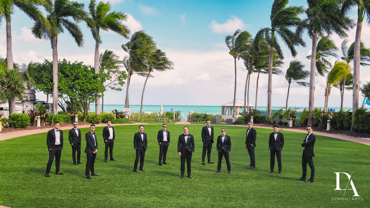 creative groomsmen pictures at A Ritz Carlton Wedding in Key Biscayne by Domino Arts Photography