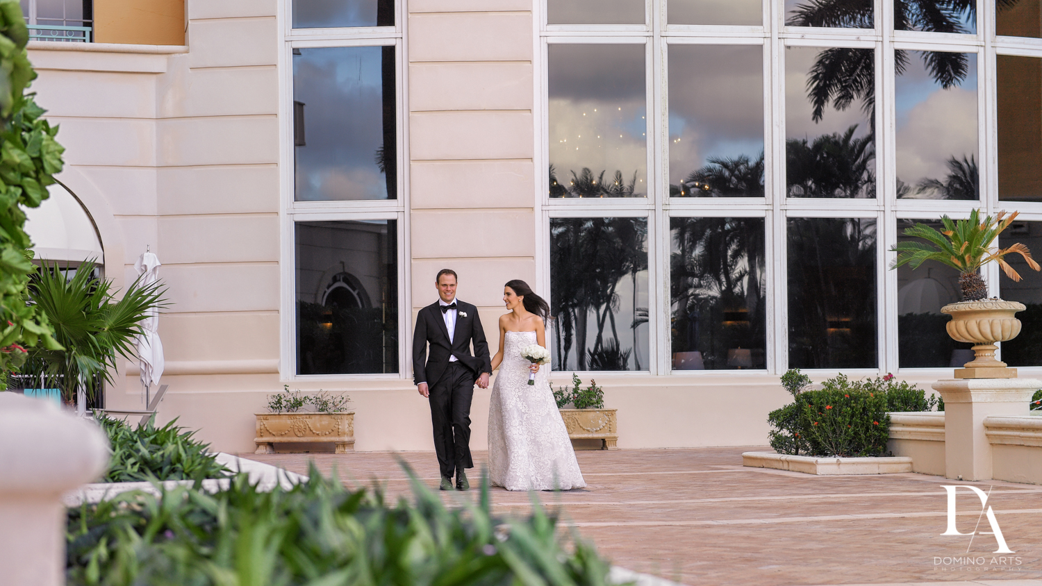 bride and groom at A Ritz Carlton Wedding in Key Biscayne by Domino Arts Photography