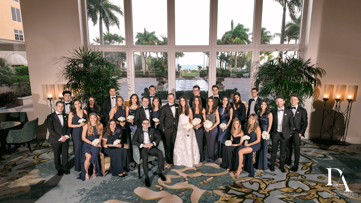 large family portrait at A Ritz Carlton Wedding in Key Biscayne by Domino Arts Photography