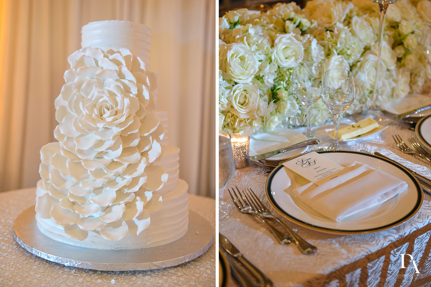wedding cake and details at A Ritz Carlton Wedding in Key Biscayne by Domino Arts Photography