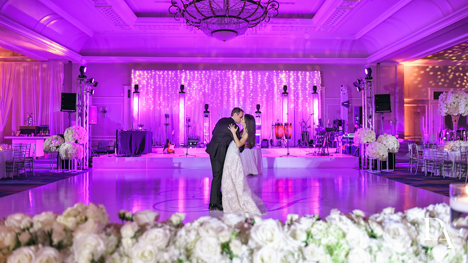 couple on dancefloor at A Ritz Carlton Wedding in Key Biscayne by Domino Arts Photography
