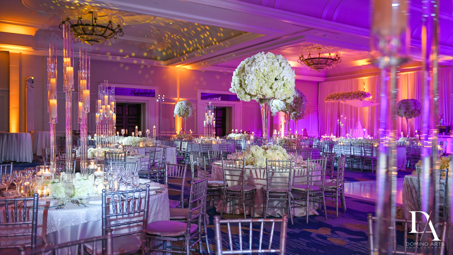 floral decor at A Ritz Carlton Wedding in Key Biscayne by Domino Arts Photography