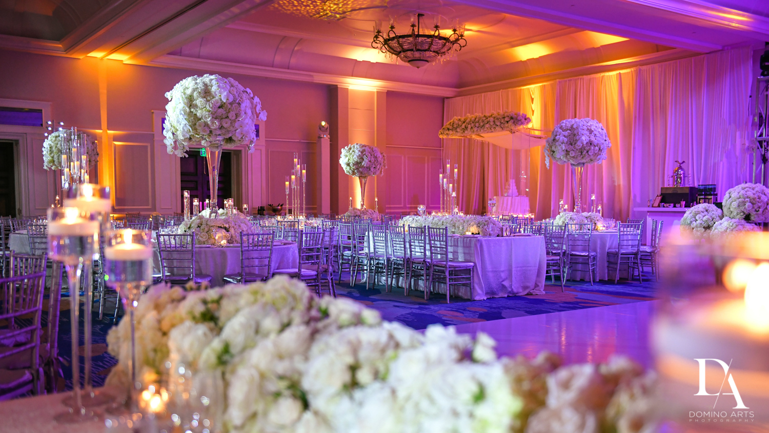 white and purple decor at A Ritz Carlton Wedding in Key Biscayne by Domino Arts Photography